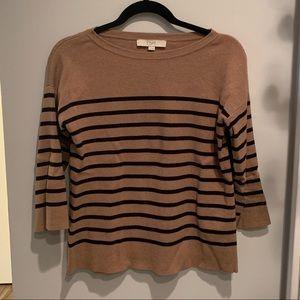 LOFT Tan + Black split back sweater, size S